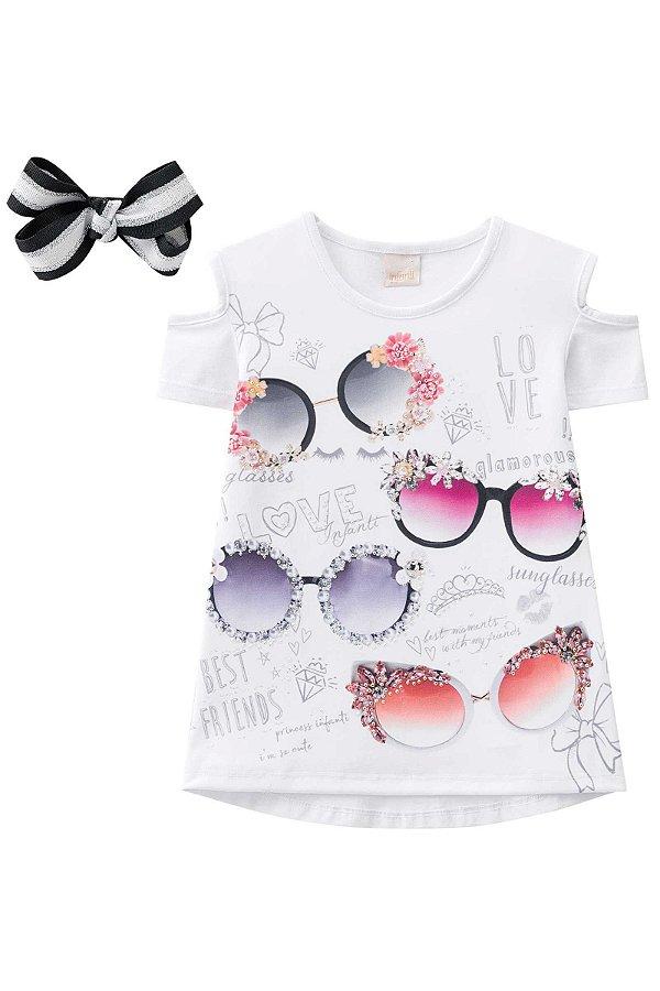 Camisa Estampada Detalhe no ombro com Laço INFANTI ref. 39007