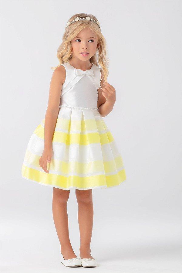Vestido Faixas em Neon com Aplicações de Perolas e Laço PETIT CHERIE ref. 31200