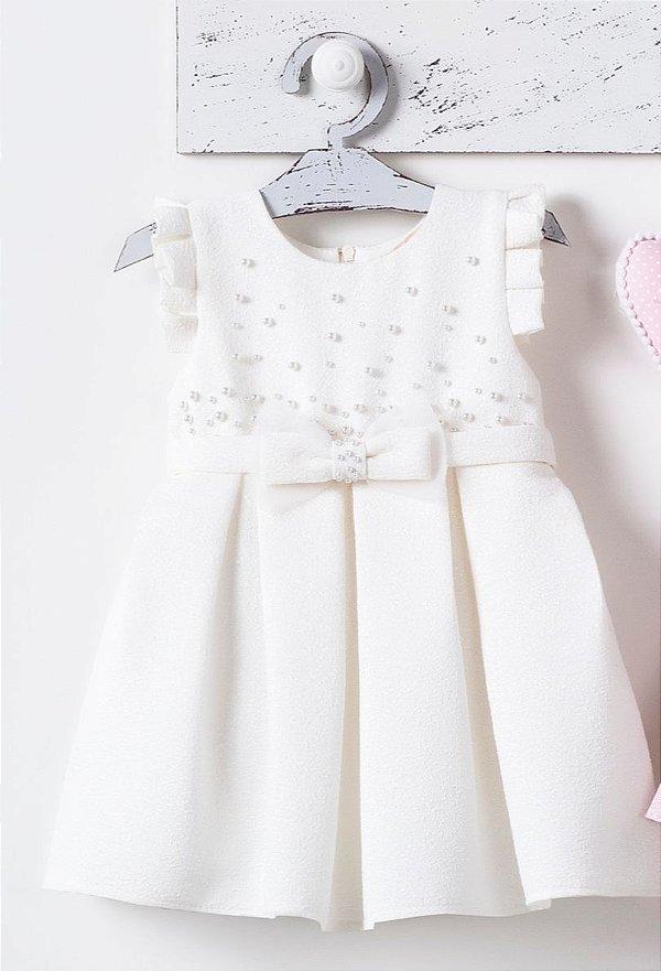Vestido Off White Manga Curta com Aplicações de Perolas e Laço PETIT CHERIE ref. 31016