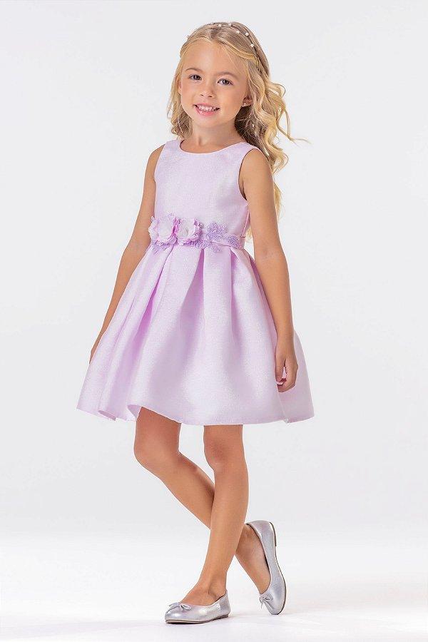 Vestido Lilás Com Flôres aplicadas Sereia Ref. 31342