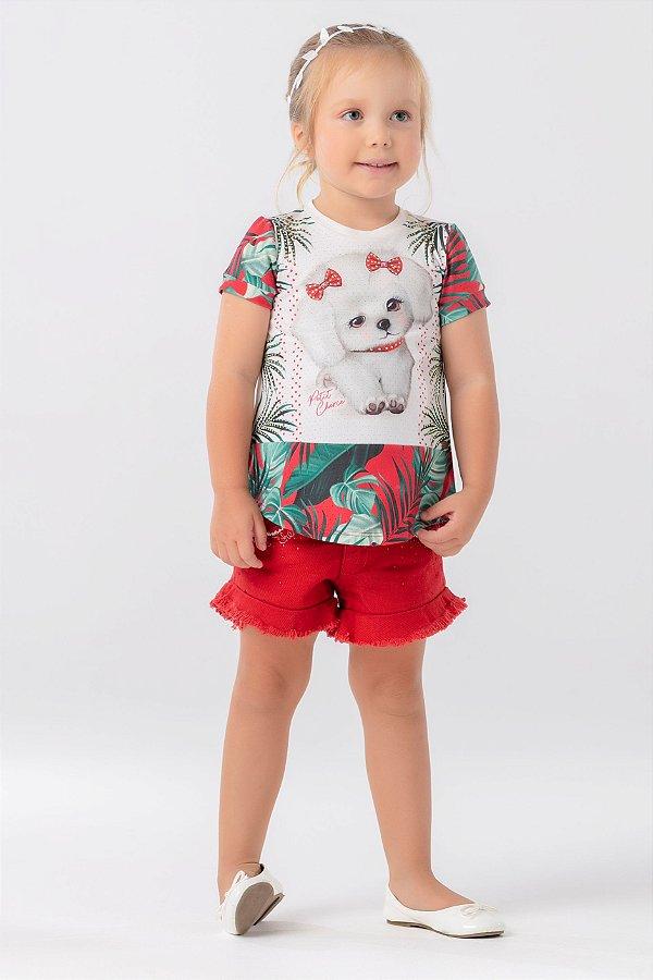 Conjunto MC Blusa e shorts sarja Petit Cherie Ref. 80130