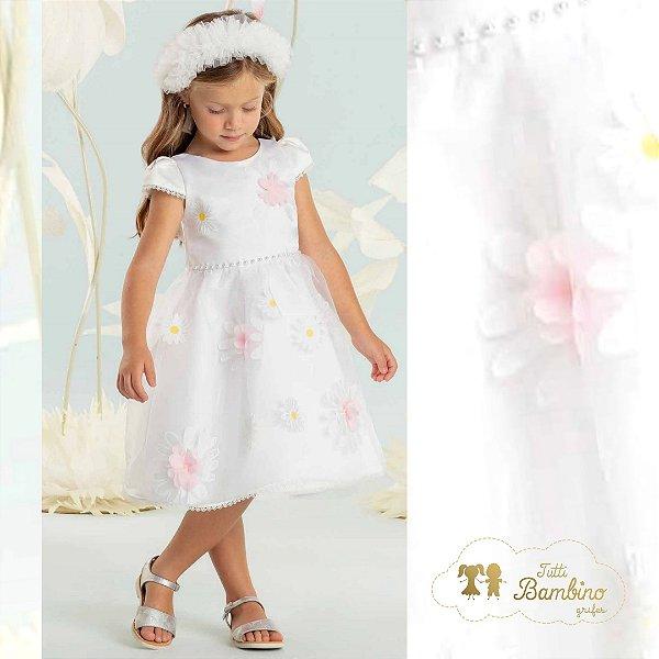 Vestido Branco Organza Com Flores 3D Ref: 17002
