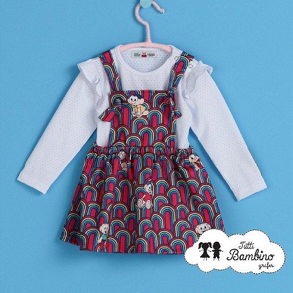 Vestido com Body  bebê Turma da Mônica Ref : 213118004