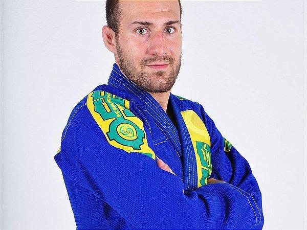 Kimono Jiu Jitsu Oss Masculino Competition Azul e Verde/Amarelo