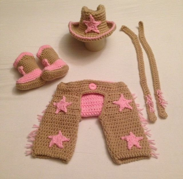 Conjunto Newborn Cowgirl em Croche -  Prop Peão Rodeio