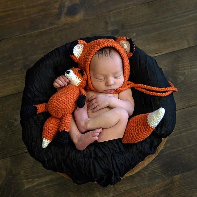 Touca Com Amigurumi De Raposinha Newborn + Rabinho
