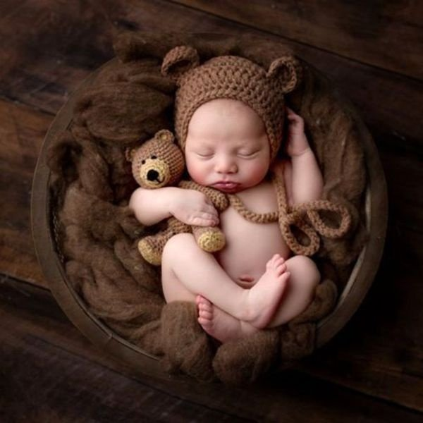 Touca Com Amigurumi De Ursinho Newborn