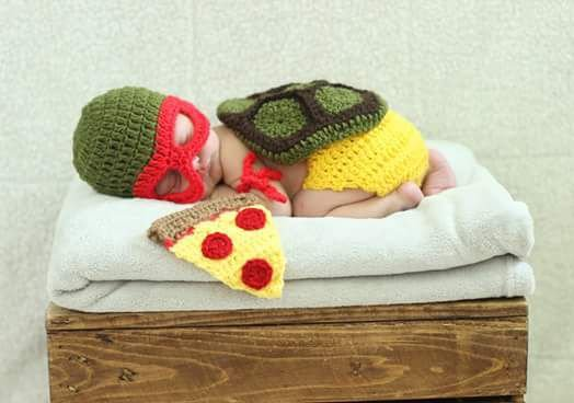 Tartaruga Ninja Conjunto Newborn Em Croche - Cosplay Prop