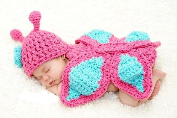 Conjunto de Crochê Borboleta - Rosa e Azul