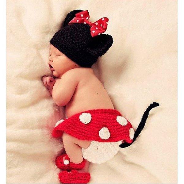 Conjunto Newborn Minnie em Crochê
