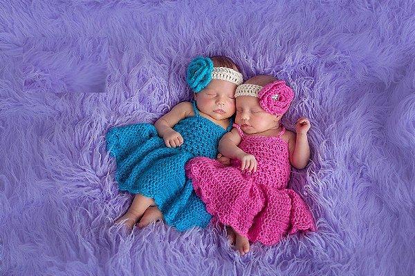 Vestidinho de Crochê Clarice e Sofia - newborn