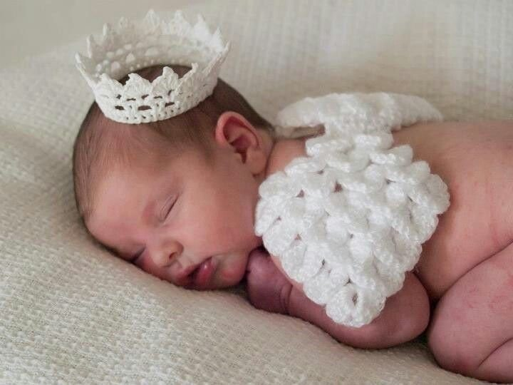 Conjunto Newborn Anjinho (Asas de anjo + Coroa)