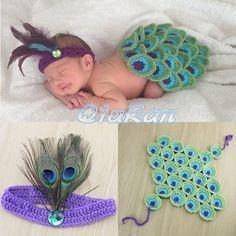 Conjunto Newborn - Daminha de Pavão em Crochê