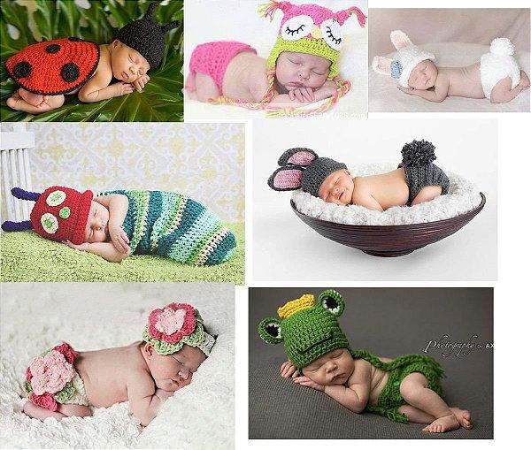 Newborns Menino E Menina Conjuntos E Toucas - Art Crochê