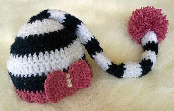 Touca Elfo Borboleta - prop newborn de croche