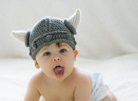 Touca Viking De Crochê Bebês Newborn Para Fotografia Asterix
