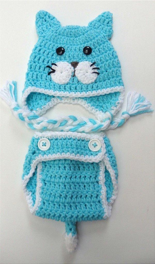 Conjunto Newborn Gatinho Azul De Croche