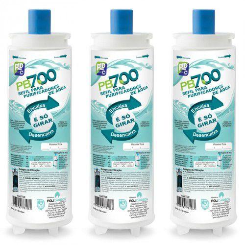 Kit Com 3 Refil Filtro PB700 Para Purificador de Água ( Compatível Masterfrio Rótulo Azul 22,5 mm )
