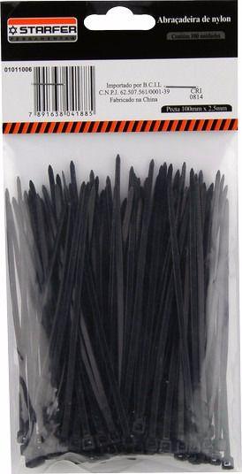 Abraçadeira Nylon Preta STARFER 100 x 2,5 Com 100 unidades
