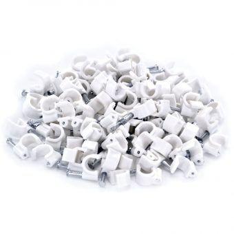 Fixa Fio Coaxial 6mm Branco + Prego 2,5X25 - 100 unidades SFOR