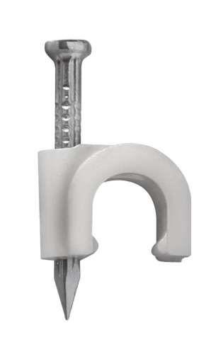 Fixa Fio Coaxial 7mm Branco + Prego 2,5X25 - 100 unidades SFOR