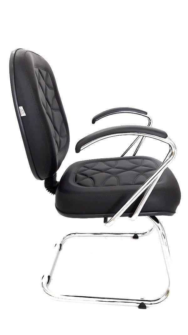 Cadeira Fixa Diretor Cromada em Corino
