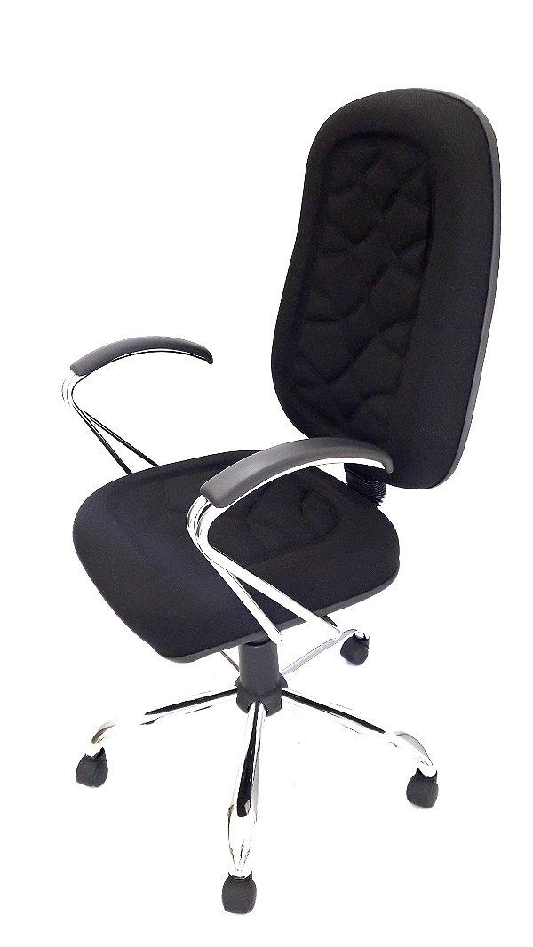 Cadeira Giratória Presidente Cromado em Tecido