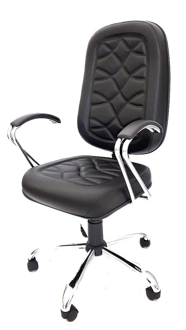 Cadeira Giratória Presidente Cromado em Corino