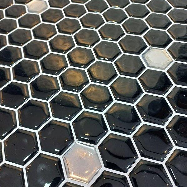 Pastilha Hexagone Preta com Pontos Espelhados Adesiva EPLHE370ESP