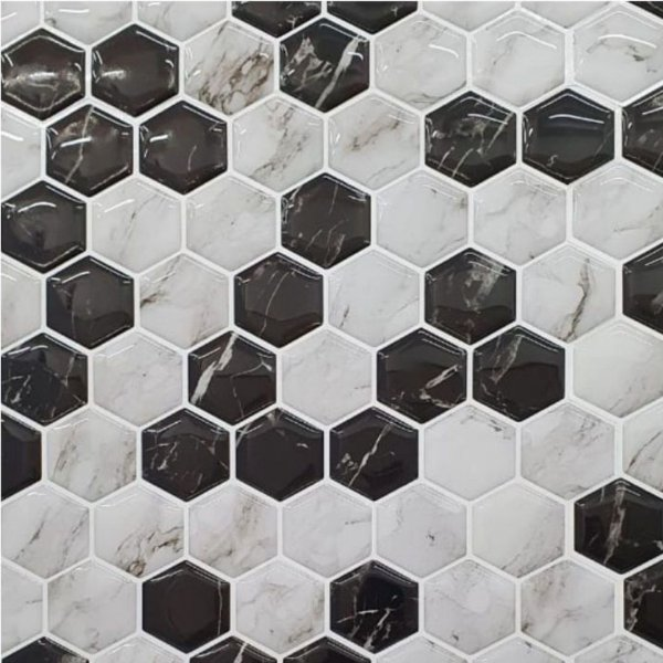 Pastilha Hexagone Marmorizada Adesiva EPLHE300