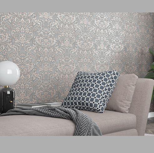 Papel de parede Arabesco Rose Gol e Cimento Queimado EPLCIGL32604