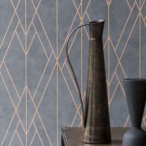 Papel de Parede Geometrico Chumbo e Bronze - EPLFIN219712