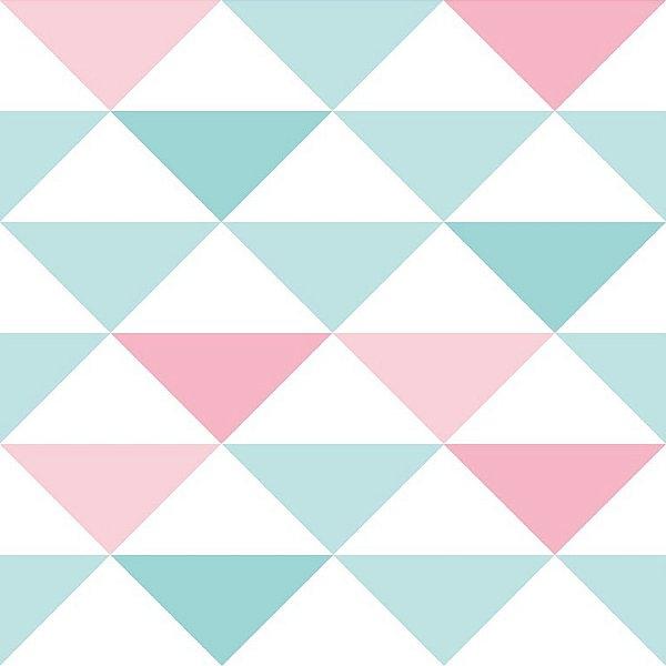 Papel de Parede Triangulo  Rosa e Azul - Brincar