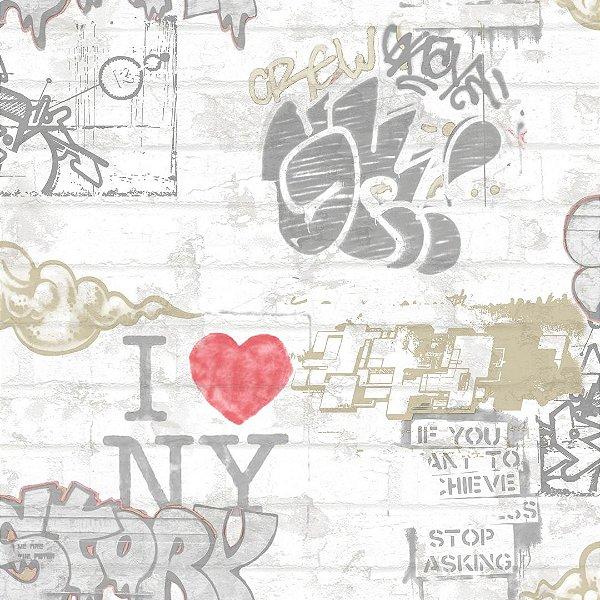 Papel de Parede Grafitte e Tijolinho Kids Teens