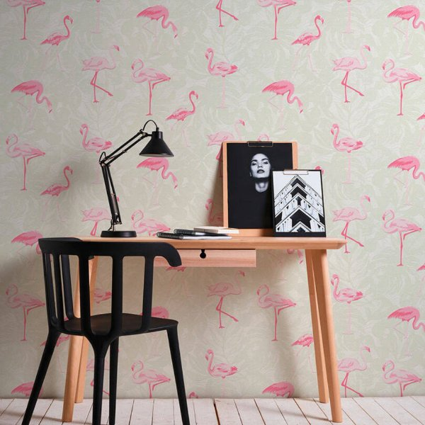 Papel de Parede Flamingo fundo claro - Boys and Girls
