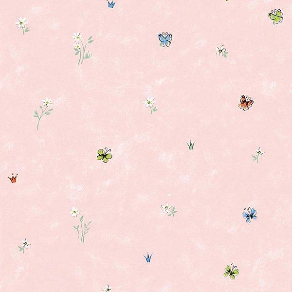 Papel de Parede Borboleta fundo Rosa - Hello Kids