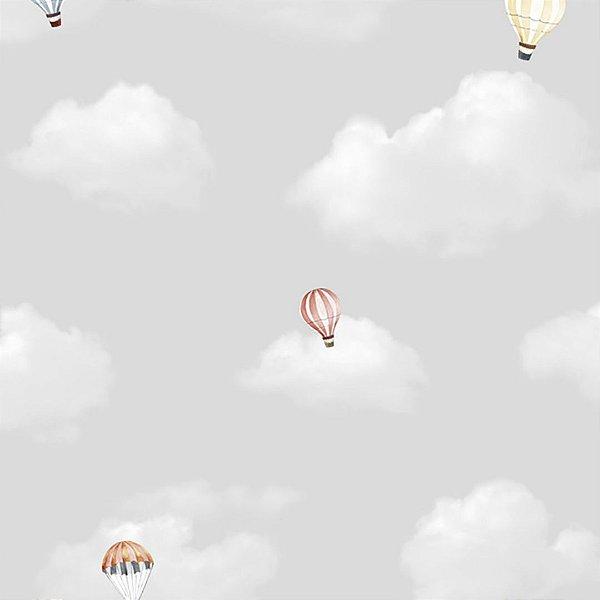 Papel de Parede Nuvens Cinzas e Balões Hello Kids
