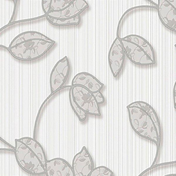 Papel de Parede Arabesco Florido Cinza  - Element