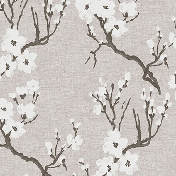 Papel de Parede Folhagem Cerejeira Branco e  Cinza - Element