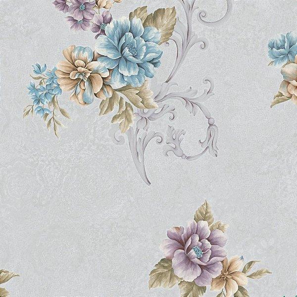 Papel de Parede Florido Lilas, Roxo, Azul e Verde - Moda