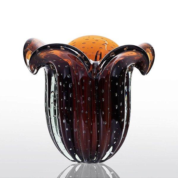Vaso de Decoração em Murano -  Marrom - Yasmim Tam Único
