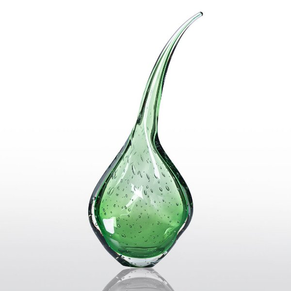 Gota de Decoração em Murano - Flat Curve - cor  Verde Esmeralda - G