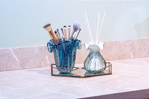 Kit Murano - Vaso Firenze + Difusor - Aquamarine e Branco