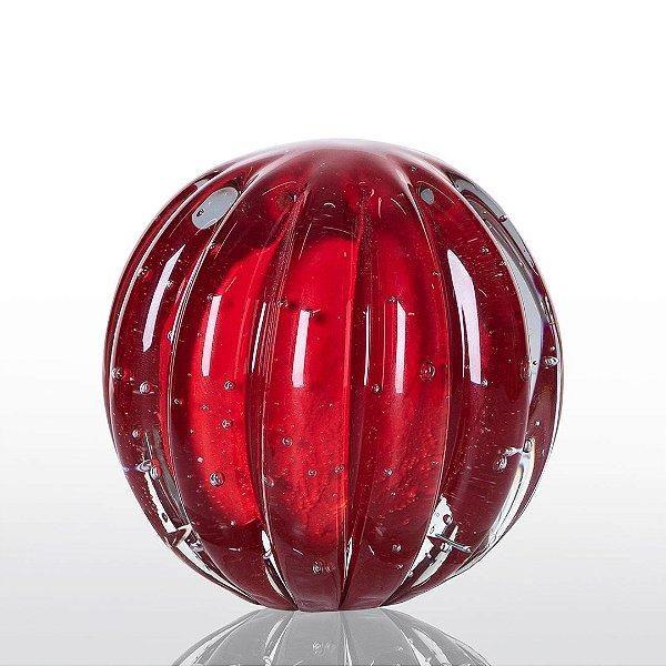 Bola de Decoração em Murano - Vermelho Intenso - Dear - Tam M