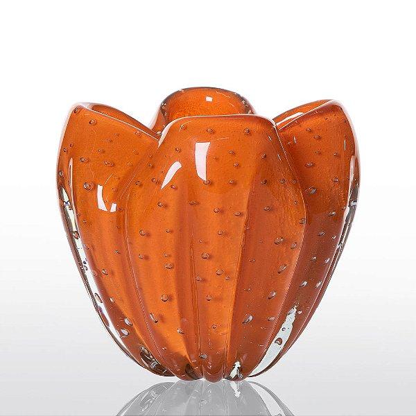 Cachepot de Decoração em Murano - Laranja Tangerine- Charming - Tam PP.