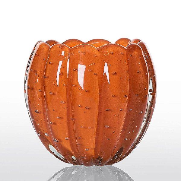 Cachepot de Decoração em Murano - Laranja Tangerine - Nino - Tam P