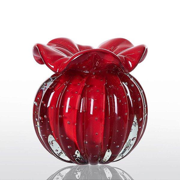 Vaso de Decoração em Murano - Trouxinha Love - Vermelho Intenso - Tam P