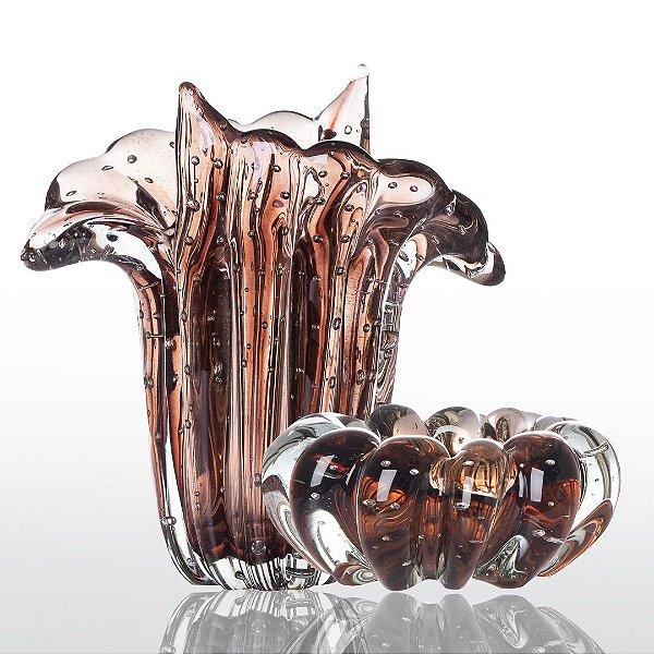 Kit Murano - Vaso Trento + Cachepot Téo - Vintage Rosê