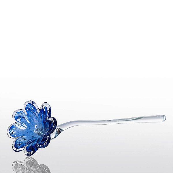 Flor de Decoração em Murano - Do Campo - Azul Safira