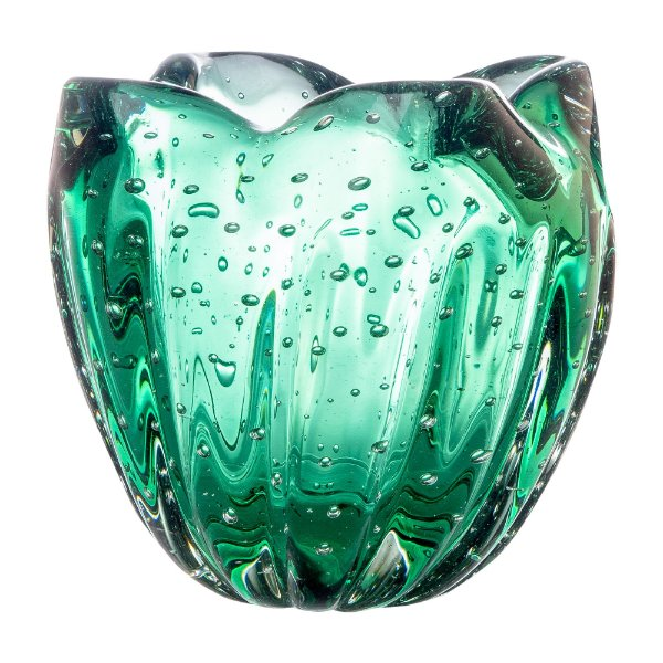 Cachepot de Decoração em Murano - Verde Esmeralda - Charming - Tam P